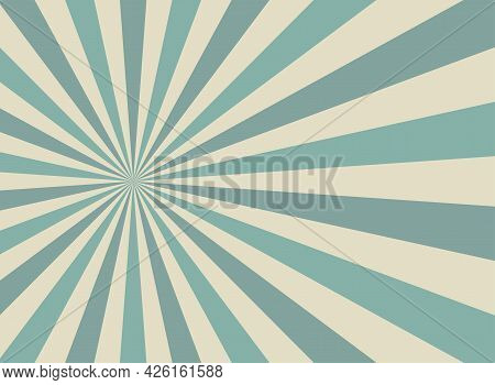 Sunlight Wide Retro Faded Background. Blue And Beige Color Burst Background. Fantasy Vector Illustra