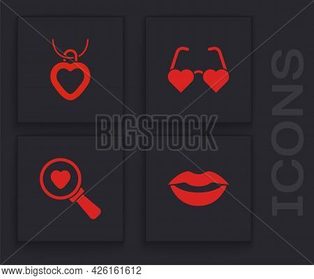 Set Smiling Lips, Necklace With Heart Shaped, Heart Love Glasses And Search And Icon. Vector