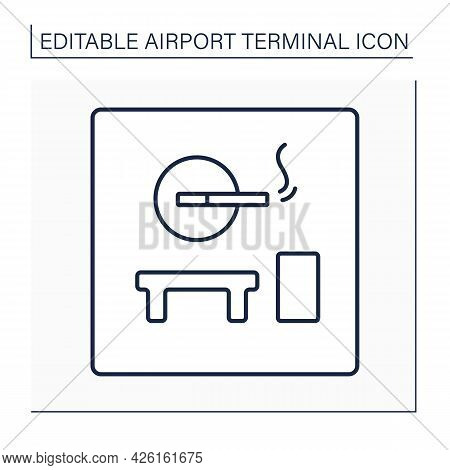 Smoking Room Line Icon. Pointer.smoking Lounge.zone Provided And Furnished For Smoke.airport Termina