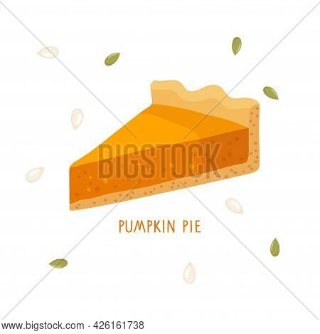 Pumpkin Pie. Cut Off Pie Piece Isolated On White Background. Healthy Vegetable Eating For Thanksgivi