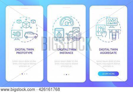 Digital Twin Types Onboarding Mobile App Page Screen. Automation Technologies Walkthrough 3 Steps Gr