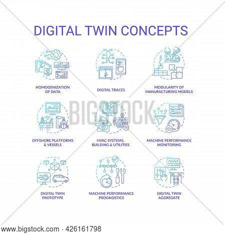 Digital Twin Concept Icons Set. Digital Twin Characteristics. Smart Innovative Computer Systems. Aut