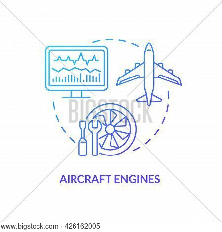 Aircraft Engines Concept Icon. Digital Twin Application By Industry. Modern Transport Technologies.