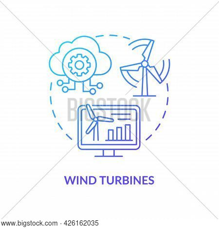 Wind Turbines Concept Icon. Digital Twin Application By Industry. Eco Electricity Source. Energy Cre