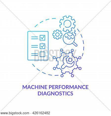 Machine Performance Diagnostics Concept Icon. Digital Twin Tasks. Innovative Computers Technologies