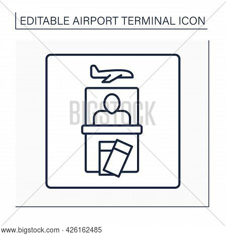 Ticket Office Line Icon. Kiosk For Buy, Sell And Exchange Tickets. Pointer.airport Terminal Concept.