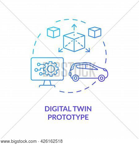 Digital Twin Prototype Concept Icon. Early Example Of Future Products. Innovation Technologies. Mode