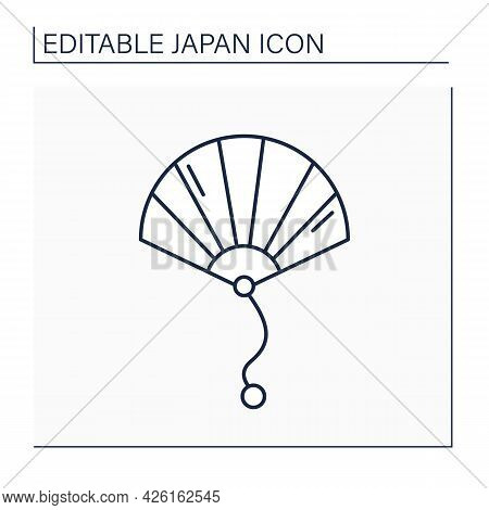 Hand Fan Line Icon. Refreshing Device. Waving Back-and-forth To Create Airflow. Accessories.japanese