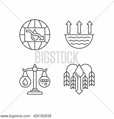 Suffering From Water Shortage Linear Icons Set. Evaporation. Reuse, Recycling. Crop Shortage. Custom