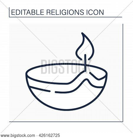 Hinduism Line Icon. Skull Cup Used As A Ritual Implement In Both Hindu Tantra And Buddhist Tantra. R