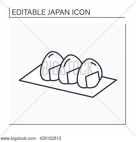 Onigiri Line Icon. Rice Bag. Traditional Japanese Food. Triangular Rice Shape Wrapped In Nori. Japan