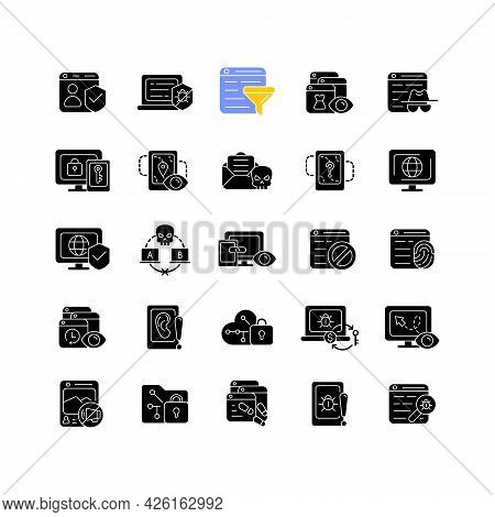 Online Surveillance And Censorship Black Glyph Icons Set On White Space. Securing Accounts. Targetin