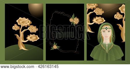 Vector Set Mystic And Elf Theme, Includes Illustrations Of Elves, Fairies, Frames With  Flowers, Lan