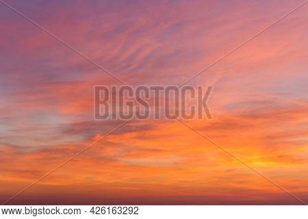 Fiery Orange Sunset Sky. Beautiful Sky. Beautiful Sky With Clouds Before Sunrise