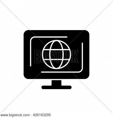 Cyberspace Black Glyph Icon. Virtual Computer World. Internet Environment. Interconnected Informatio