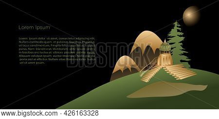 Vector  Template Mystic And Elf Theme, Banner With Golden City, House On Black Background, Copy Spac