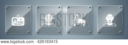 Set Head Of Deaf And Dumb, Hospital Bed, Deaf And Identification Badge. Square Glass Panels. Vector