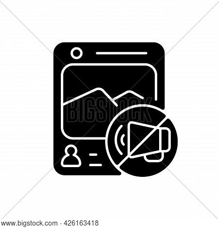 Social Media Censorship Black Glyph Icon. Restrict Access To Harmful Groups. Silencing Voices. Handl