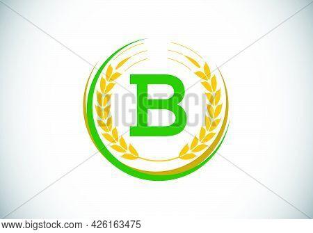 Initial Letter B Sign Symbol With Wheat Ears Wreath. Organic Wheat Farming Logo Design Concept. Agri