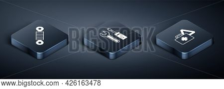 Set Isometric Shock Absorber, First Aid Kit And Warning Triangle And Screwdriver Wrench Spanner Icon