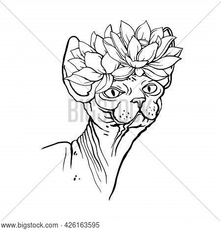 Sphinx Cat With Flowers. Coloring Book For Adults. Hand-drawn Illustration. Vector.