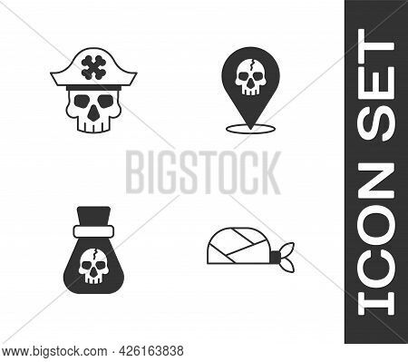 Set Pirate Bandana For Head, Captain, Coin And Location Pirate Icon. Vector