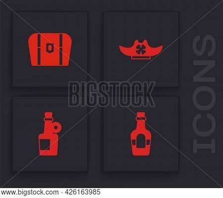 Set Alcohol Drink Rum, Antique Treasure Chest, Pirate Hat And Icon. Vector