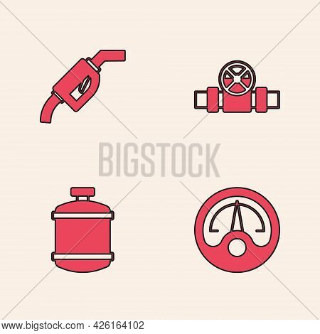 Set Motor Gas Gauge, Gasoline Pump Nozzle, Metallic Pipes And Valve And Propane Tank Icon. Vector