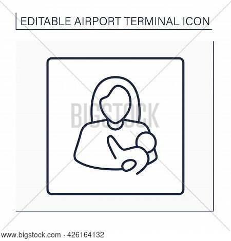 Nursing Room Line Icon. Breastfeeding, Lactation Room.pointer. Private Space For Mother And Baby.air