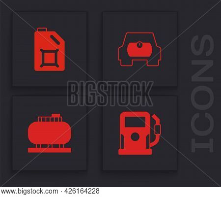 Set Petrol Or Gas Station, Canister For Motor Oil, Gas Tank Vehicle And Oil Storage Icon. Vector