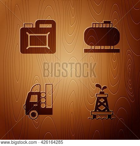 Set Oil Rig, Canister For Motor Oil, Gas Tank Vehicle And Storage On Wooden Background. Vector