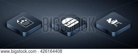 Set Isometric Declaration Of Independence, Barbecue Grill And Burger Icon. Vector