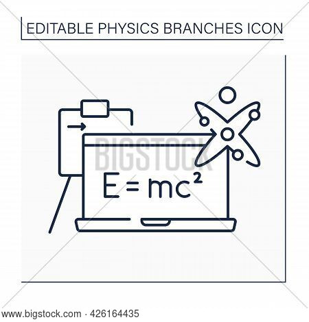 Modern Physics Line Icon.mass And Energy Equivalence Formula On Blackboard. Special Relativity, Quan