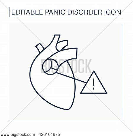 Mitral Valve Prolapse Line Icon.anxiety Symptoms. Palpitations And Chest Pain.heart Attack.panic Dis