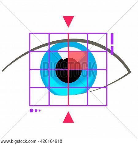 Eye Scanning Identity Technology Or Medical Healthcare Eyesight Test Check Vector Flat Cartoon Conce