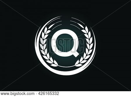 Initial Letter Q Sign Symbol With Wheat Ears Wreath. Organic Wheat Farming Logo Design Concept. Agri