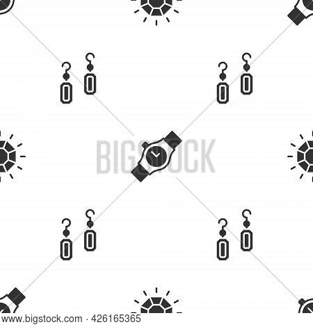 Set Diamond, Wrist Watch And Earrings On Seamless Pattern. Vector