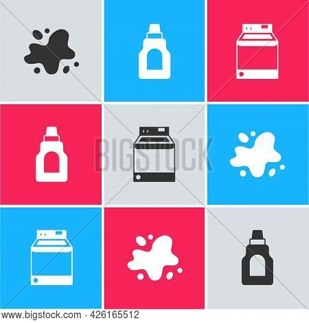 Set Water Spill, Bottle For Cleaning Agent And Washer Icon. Vector