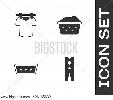 Set Clothes Pin, Drying Clothes, Temperature Wash And Basin With Soap Suds Icon. Vector