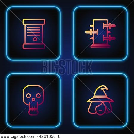 Set Line Witch, Skull, Decree, Paper, Parchment, Scroll And Trunk For Magic Tricks. Gradient Color I
