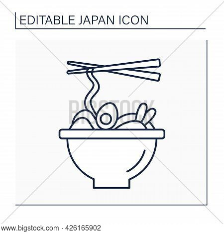 Ramen Line Icon. Japanese Cuisine With Wheat Noodles And Eggs. Fast Food. Traditional Dish. Japanese