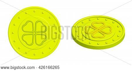 Isometric Gold Coin Mascot With Four Leaf Clover. Amulet For Attracting Good Luck. 3d Vector