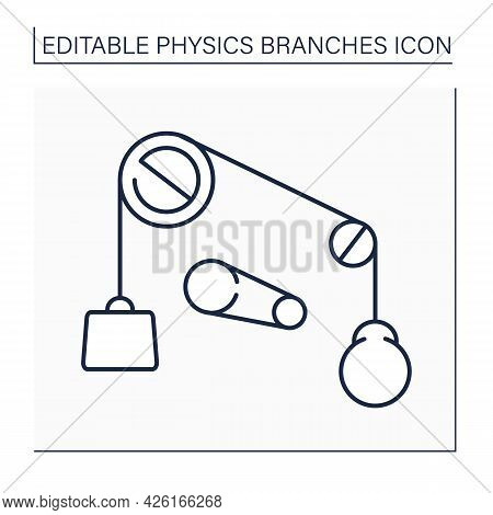 Classical Physics Line Icon. Based On Classical Mechanics. Properties Of Mechanical Systems. Mechani