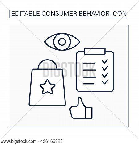 Evaluation Line Icon.post-purchases Evaluation. Appreciation Services And Attitude. Consumer Behavio