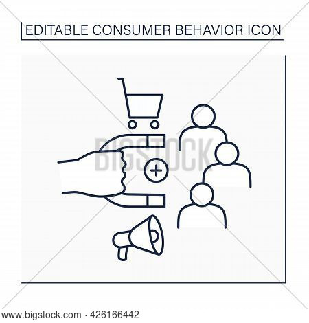 Consumer Retention Line Icon. Increase Numbers Of Repeat Customers. Engaging Customers To Continue B