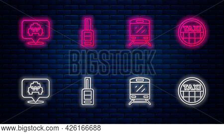Set Line Car Key With Remote, Train, Location Taxi And Taxi Car Roof. Glowing Neon Icon On Brick Wal