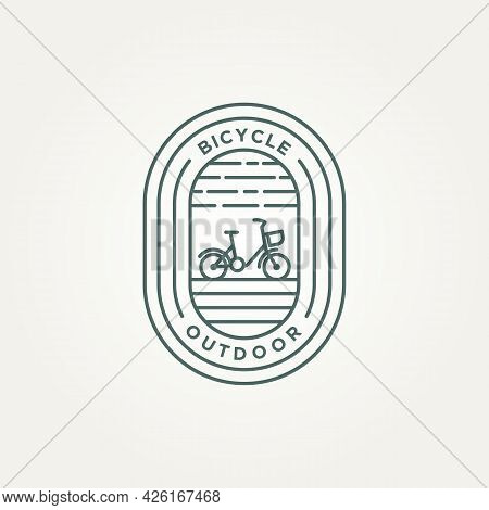 Outdoor Bicycle Minimalist Line Art Badge Icon Logo Template Vector Illustration Design. Simple Mode