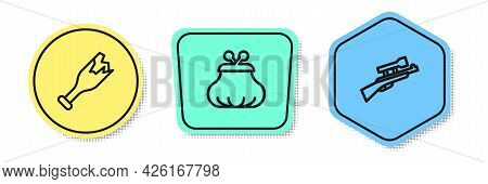 Set Line Broken Bottle As Weapon, Wallet And Sniper Rifle With Scope. Colored Shapes. Vector