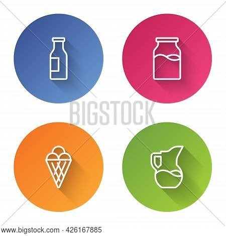 Set Line Bottle With Milk, , Ice Cream In Waffle Cone And Milk Jug Or Pitcher. Color Circle Button.