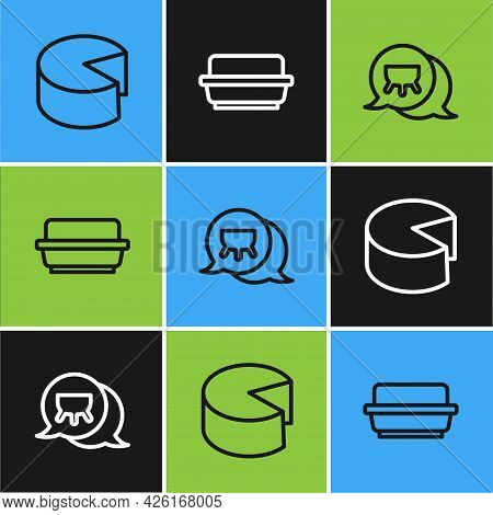 Set Line Cheese, Udder And Butter In A Butter Dish Icon. Vector